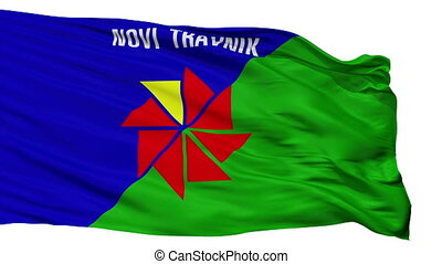 Novi Travnik flag, city of Bosnia Herzegovina, realistic animation isolated on white seamless loop - 10 seconds long (alpha channel is included)