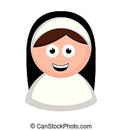 Isolated nun avatar cartoon