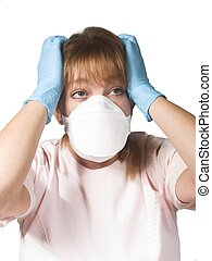 nurse or doctor - isolated nurse or doctor with a mask...
