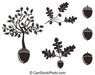 isolated oak acorn silhouettes set from white background