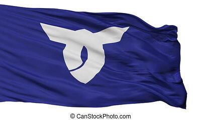 Isolated Obanaza city flag, prefecture Yamagata, Japan -...
