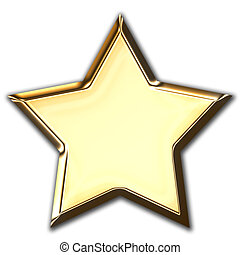 Gold star - Isolated object. Gold star.