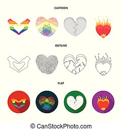 Isolated object of abstract and shape symbol. Set of abstract and love vector icon for stock.