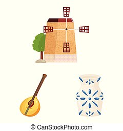 Isolated object of and logo. Set of and travel stock vector illustration.