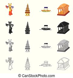 Isolated object of and travel logo. Set of and traditional stock vector illustration.