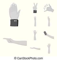 Isolated object of animated and thumb logo. Set of animated and gesture vector icon for stock.