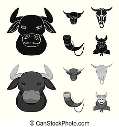 Isolated object of antler and animal symbol. Collection of antler and death vector icon for stock.