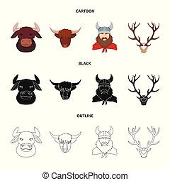 Isolated object of antler and animal symbol. Set of antler and death vector icon for stock.