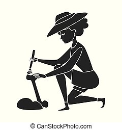 Isolated object of archaeologist and girl logo. Set of...