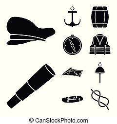 Isolated object of attributes and vintage symbol. Collection of attributes and sea vector icon for stock.