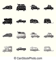 Isolated object of auto and journey sign. Collection of auto and trailering stock symbol for web.