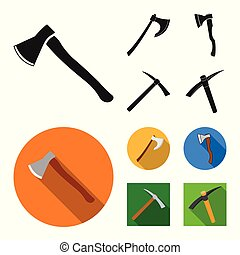 Isolated object of ax and hammer icon. Collection of ax and chopping stock symbol for web.