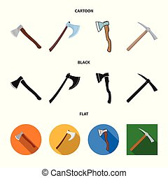 Isolated object of ax and hammer logo. Collection of ax and chopping stock symbol for web.