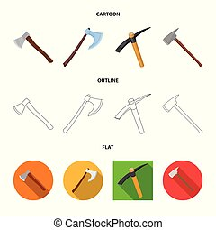 Isolated object of ax and hammer sign. Collection of ax and chopping stock vector illustration.