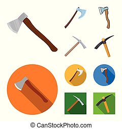 Isolated object of ax and hammer sign. Set of ax and chopping vector icon for stock.