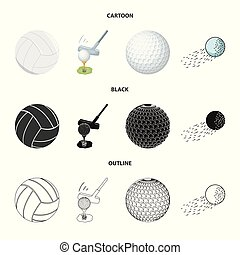 Isolated object of ball and soccer logo. Collection of ball and basketball stock vector illustration.
