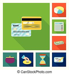 Isolated object of bank and money logo. Set of bank and bill stock vector illustration.