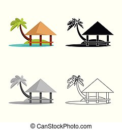 Isolated object of beach and bungalow symbol. Set of beach and romantic stock vector illustration.