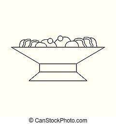 Isolated object of bowl and cake icon. Collection of bowl and dessert stock symbol for web.