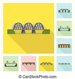 Isolated object of bridgework and bridge symbol. Set of bridgework and landmark stock vector illustration.