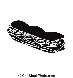 Vector design of burger and hoagie symbol. Web element of burger and bun vector icon for stock.