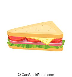 Vector design of burger and hoagie symbol. Web element of burger and triangle stock vector illustration.