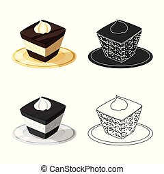 Isolated object of cake and food icon. Collection of cake and dessert stock symbol for web.