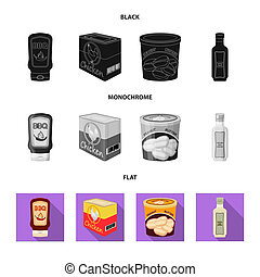 Isolated object of can and food symbol. Set of can and package stock vector illustration.