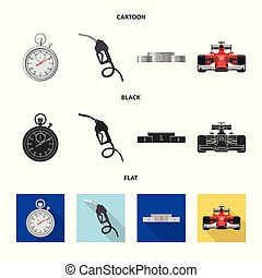 Isolated object of car and rally icon. Set of car and race stock symbol for web.