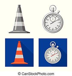 Isolated object of car and rally logo. Set of car and race vector icon for stock.