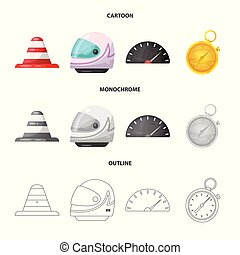 Isolated object of car and rally symbol. Set of car and race vector icon for stock.