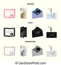 Isolated object of card and christmas symbol. Set of card and background vector icon for stock.