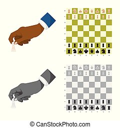 Isolated object of checkmate and thin logo. Set of checkmate...