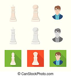 Isolated object of checkmate and thin symbol. Collection of...