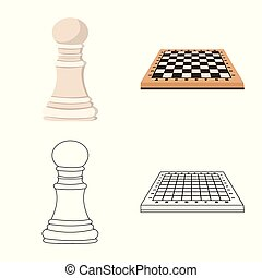 Isolated object of checkmate and thin symbol. Set of...