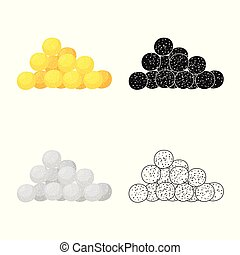 Isolated object of corn and flake sign. Set of corn and snack vector icon for stock.