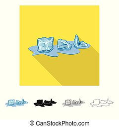Isolated object of cube and ice sign. Set of cube and kitchen stock symbol for web.