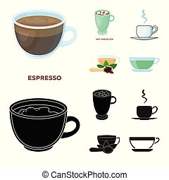 Isolated object of cup and coffe symbol. Collection of cup and top vector icon for stock.