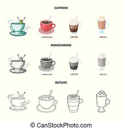 Isolated object of cup and coffe symbol. Set of cup and top vector icon for stock.