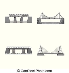 Isolated object of design and construct icon. Collection of design and bridge vector icon for stock.