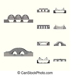 Isolated object of design and construct icon. Set of design and bridge stock vector illustration.