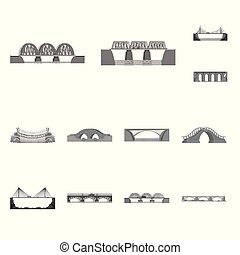 Isolated object of design and construct icon. Set of design and bridge vector icon for stock.