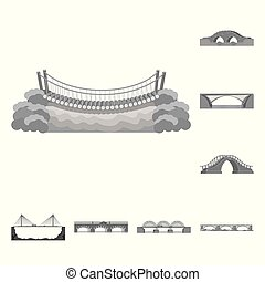 Isolated object of design and construct logo. Collection of design and bridge vector icon for stock.