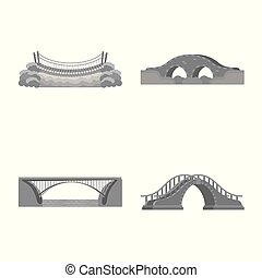 Isolated object of design and construct logo. Set of design and bridge vector icon for stock.