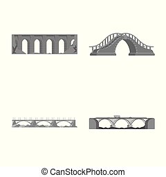 Isolated object of design and construct sign. Set of design and bridge stock vector illustration.