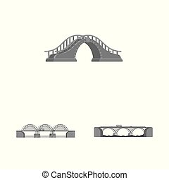 Isolated object of design and construct sign. Set of design and bridge vector icon for stock.