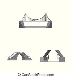 Isolated object of design and construct symbol. Set of design and bridge vector icon for stock.