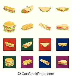 Vector design of dinner and cuisine symbol. Collection of dinner and breakfast stock symbol for web.