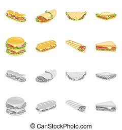 Vector design of dinner and cuisine icon. Collection of dinner and breakfast vector icon for stock.