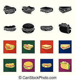 Vector design of dinner and cuisine logo. Collection of dinner and breakfast stock symbol for web.